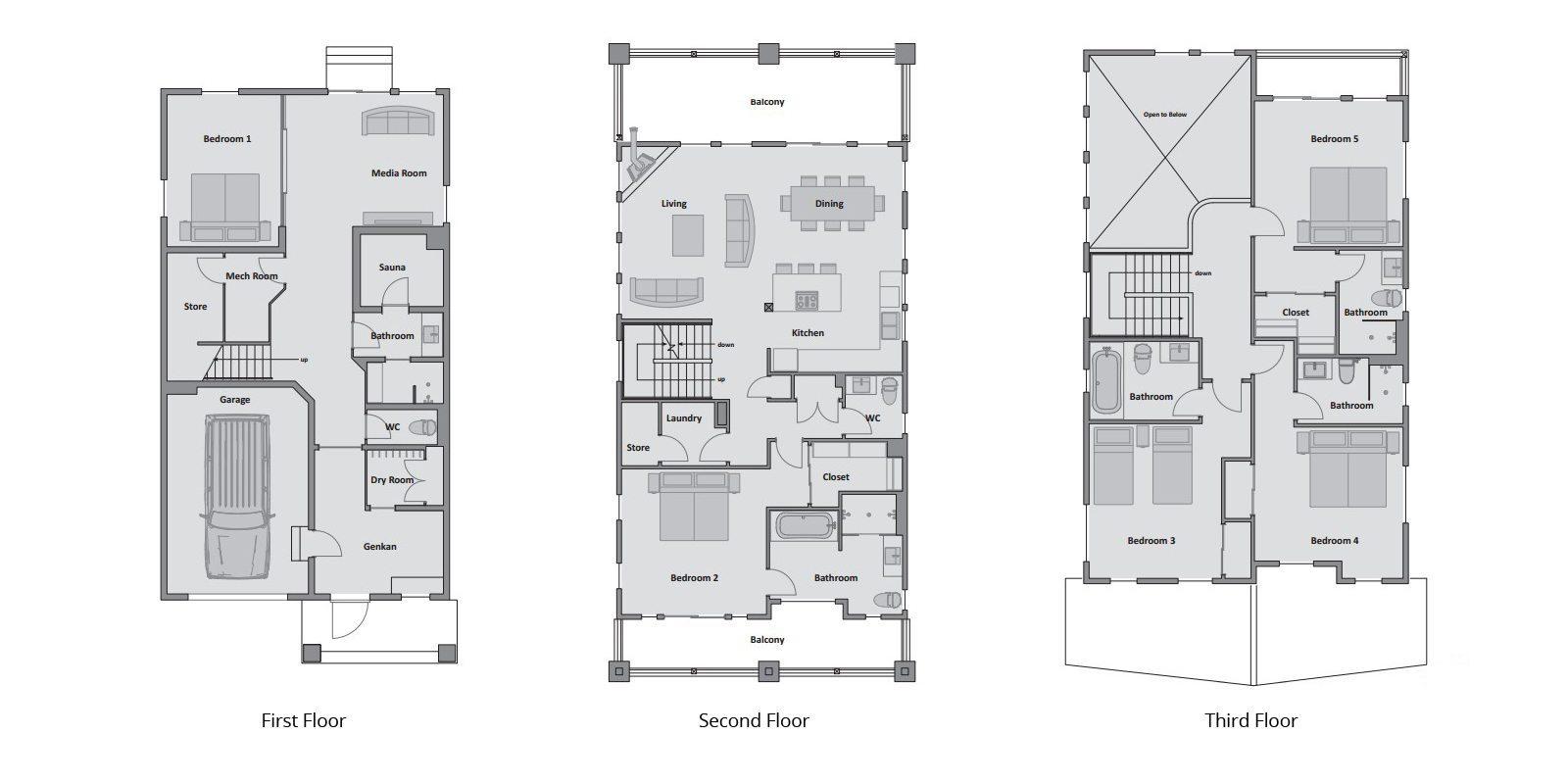 Asahi Lodge Floor Plan | Hirafu, Niseko | Ministry of Chalets