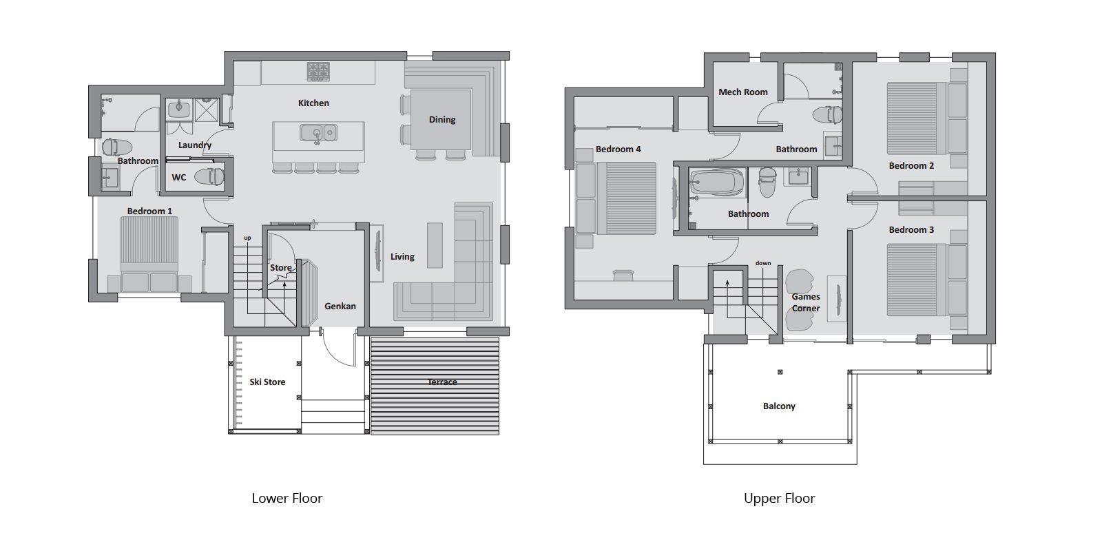 Karamatsu Floor Plan | Hirafu, Niseko | Ministry of Chalets
