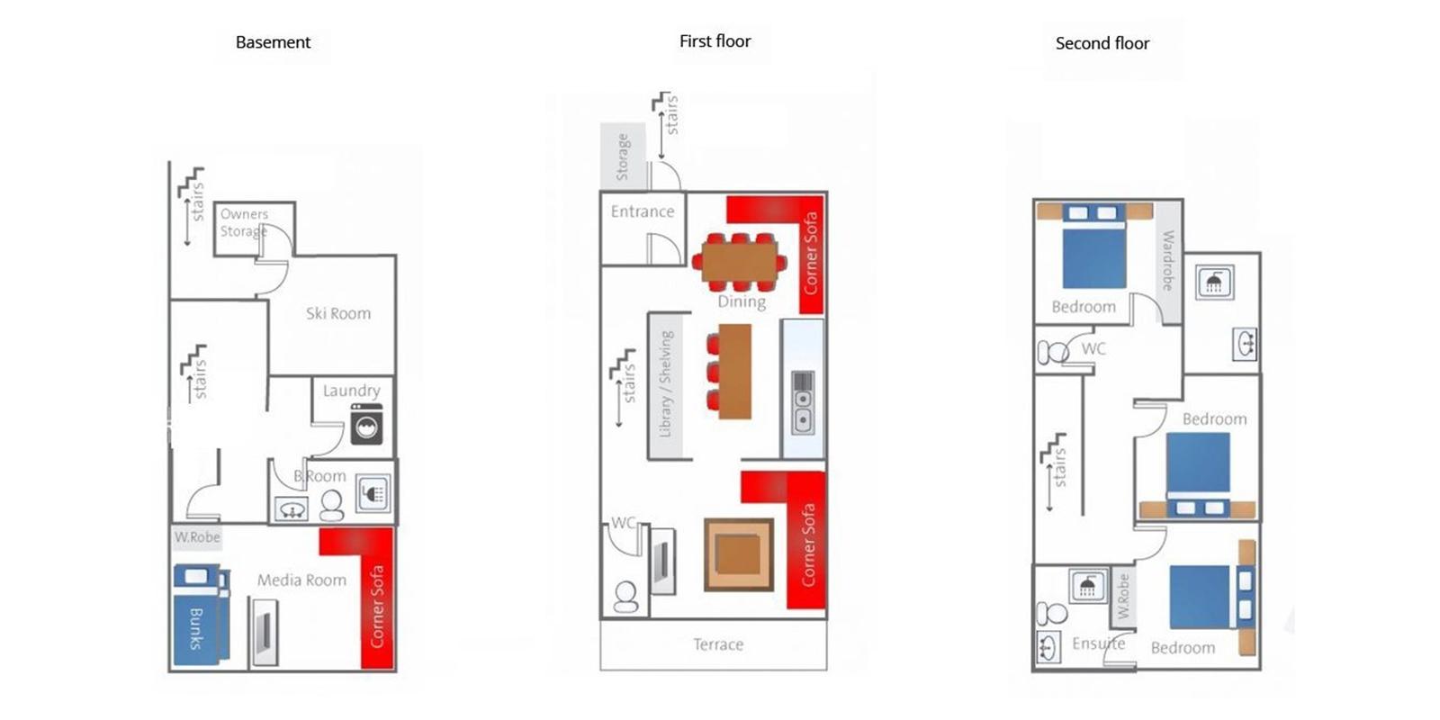 Toshokan Townhouses Floor Plan | Hirafu, Niseko | Ministry of Chalets