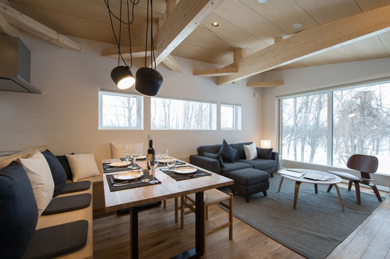 Yorokobi Lodge Living And Dining Area | Hirafu, Niseko | Ministry of Chalets