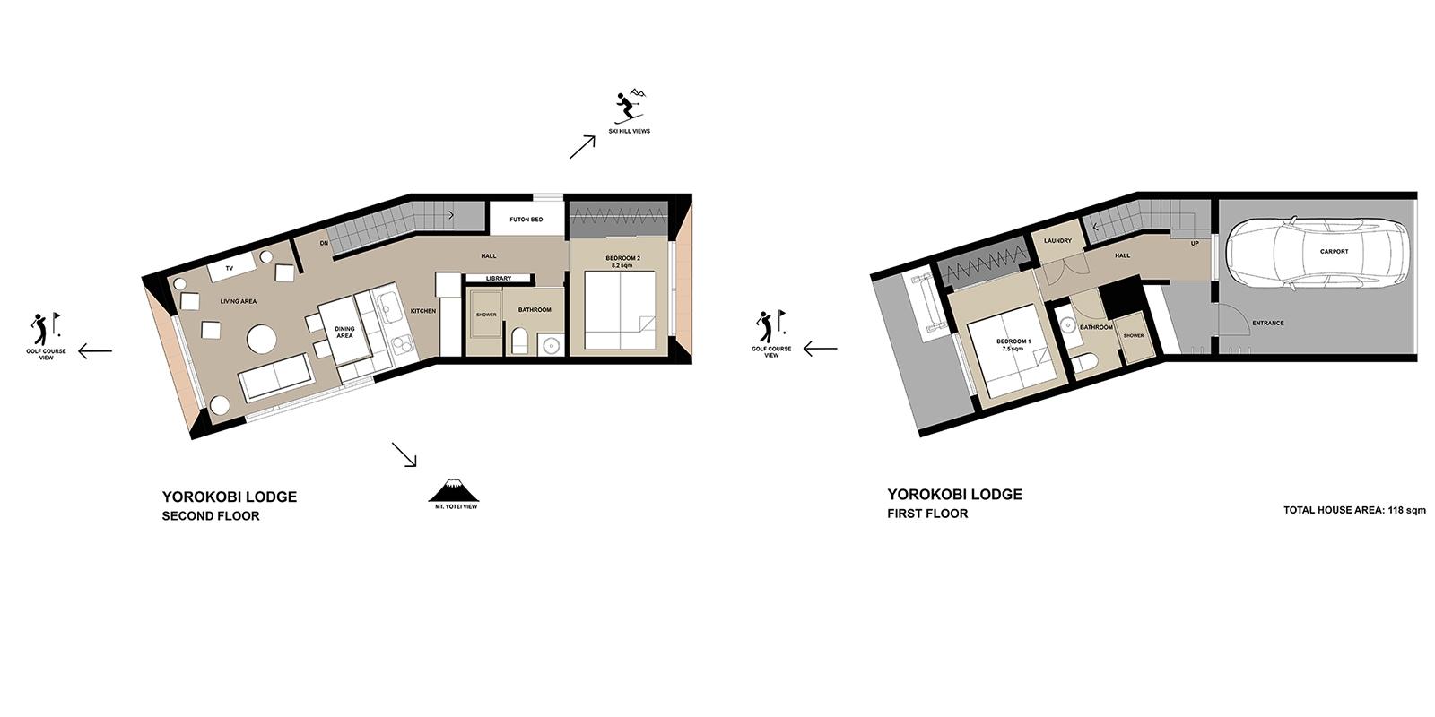 Yorokobi Lodge Floor Plan | Hirafu, Niseko | Ministry of Chalets