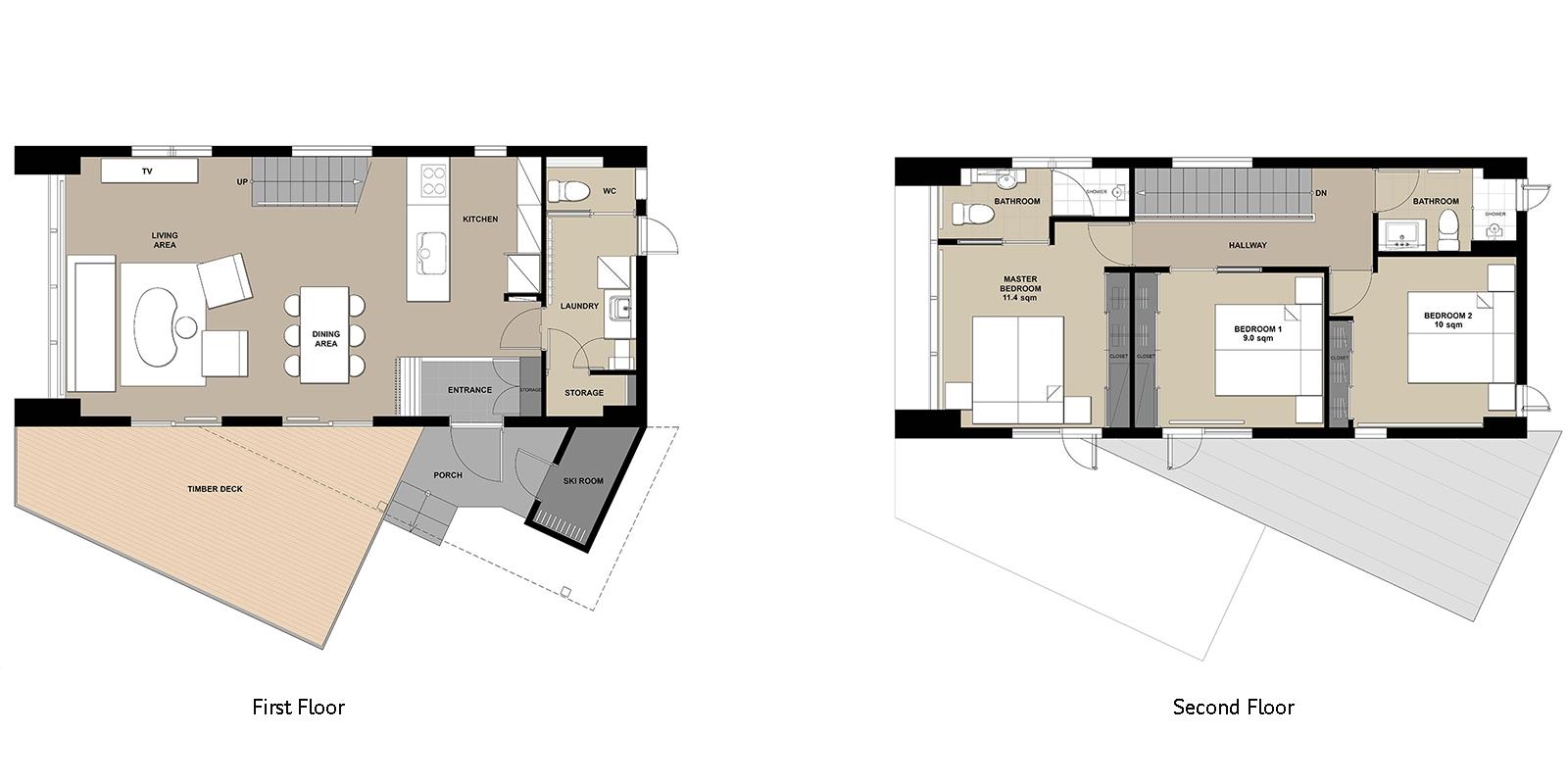 Yuki Ten Floor Plan | Hirafu, Niseko | Ministry of Chalets