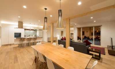 Yuzuki Living and Dining Area with Pool View | Hirafu, Niseko | Ministry of Chalets