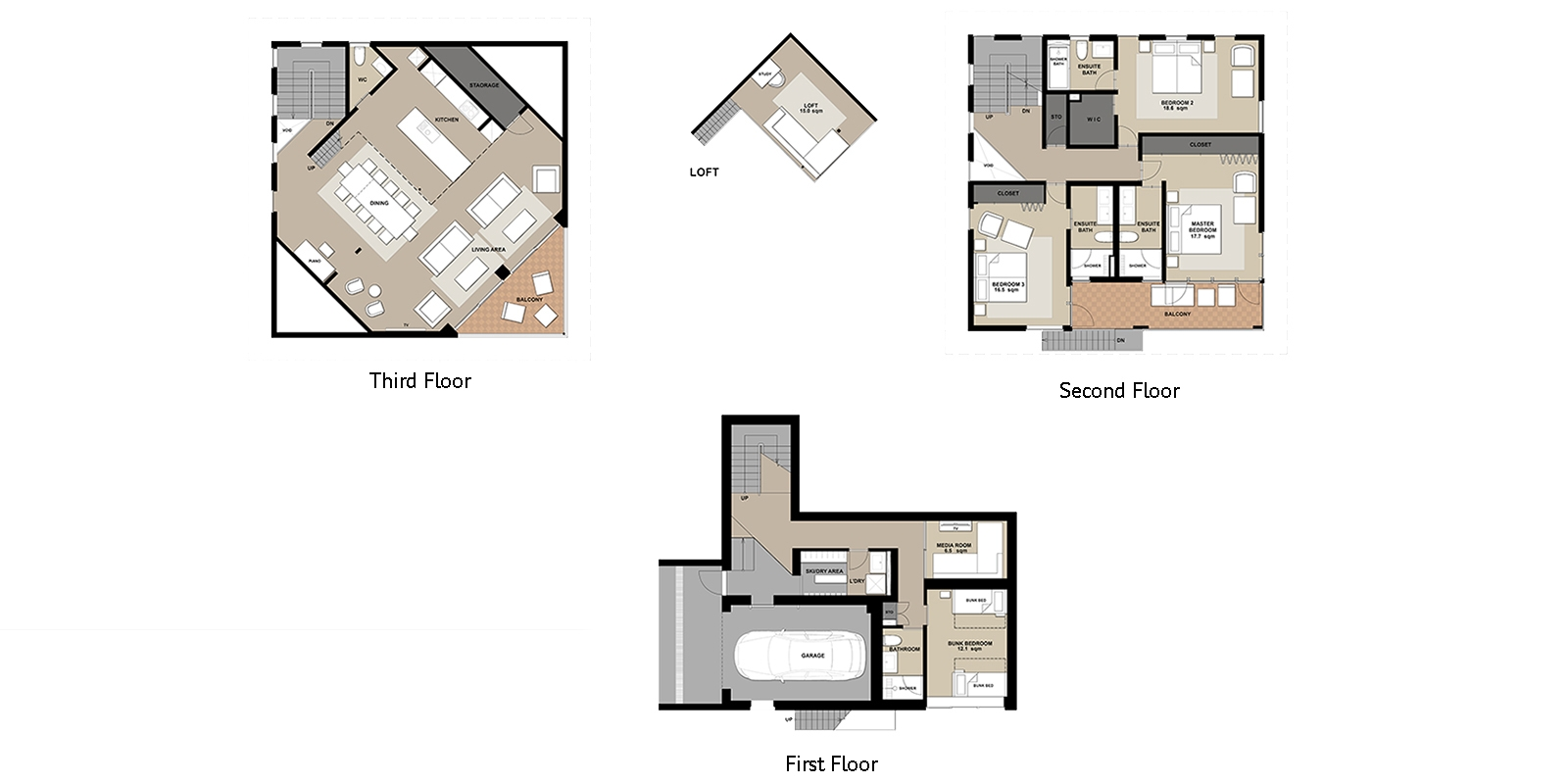 Kitsune House Floor Plan | Hirafu, Niseko | Ministry of Chalets